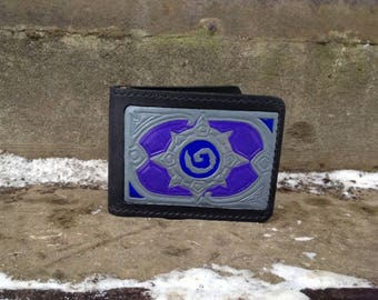Hearthstone Purple And Steel Leather Handcrafted Wallet, Gamer Perfect Gift, Leather Handmade Wallet