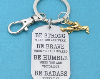 Karate keychain in stainless steel.  Karate key chain.  Karate Gifts.  Karate Mom.  Be Badass Everyday.  Gift for him.  Martial Arts.