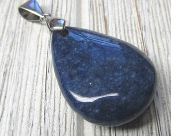 Royal Blue Agate Stone Teardrop Pendent 33 X 24mm Focal Bead With Metal Alloy Bail -1 Piece