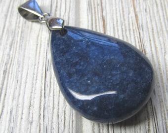 Royal Blue Agate Pierre en forme de goutte pendentif 33 X 24mm focale avec alliage de métal caution -1 pièce