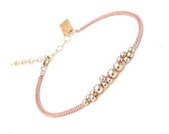 Blush Pink Bracelet, Bridesmaid gift ,Will You Be My Bridesmaid, Gift From Bride, rose gold bracelet, champagne bubbles, jewelry, pink silk