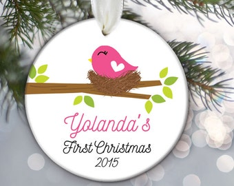 Baby's First Christmas Ornament Personalized Christmas Ornament Baby bird in nest Ornament Custom Baby Gift Baby Girl Keepsake OR402