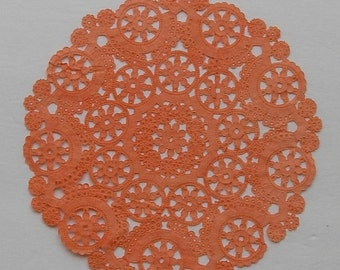 TEN dip dyed ORANGE/CORAL Paper Doilies, 8, 10, or 12 inch, Medallion Style