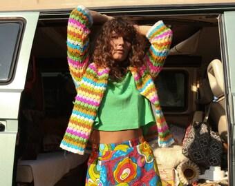 SPRING SALE Vintage Knitted Rainbow Cardigan