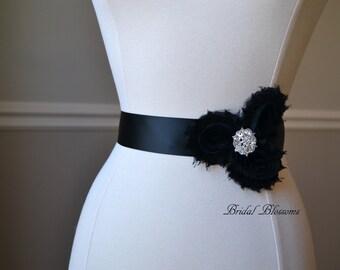 BEST SELLER - LORYN Black Vintage Inspired Bridal Sash   Shabby Chiffon Flower Wedding Dress Sash   Belt Ribbon   Bridesmaids   Rhinestone