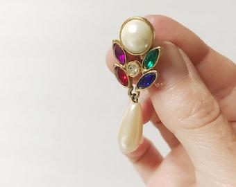 Vintage Pearl Colorful Rhinestone Dangle Earrings