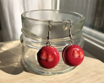 "Earrings ""macaroon Strawberry"" Red"