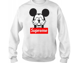 Sweatshirt mickey mouse, mickey mouse supreme, printed sweatshirt, men's sweatshirt, men's clothing, clothes with mickey mouse