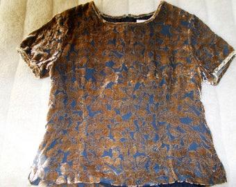 Devore velvet top. Black and copper Brown velvet. Vintage. Zipper on the back. Classy or Grunge. Brand 123