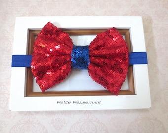 Red Blue Baby Headband, Baby head band bow, girl hair bow, infant headband, baby bow headband, toddler headband, baby hair bow, sequin bow