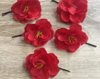 Scarlet Begonia Hair Pin, Scarlet Begonia Hair Clip, Flower Hair Clip, Flower Hair Pin, Floral Hair Clip, Floral Hair Pin, Flower Barrette