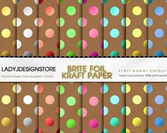 BRITE FOIL KRAFT Digital Paper Metallic Gold Foil Colorful Holiday - 9 Digital Scrapbook Papers
