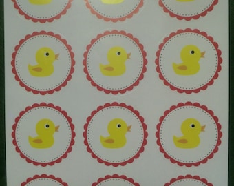Rubber Duck Stickers, 1.5 Inch, 24 PCS, Baby Invitation Seals, Birth Announcement, Party Favors label, envelope seals
