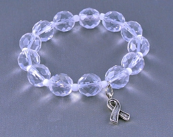 Bone Cancer, Lung Cancer Awareness Bracelet with Hope Ribbon Charm, with Donation
