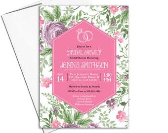 Wedding shower invitation printable, rustic bridal shower invite pink, floral garden country boho wedding - Willow Lane Paper WLP00620