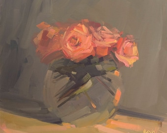 Orange Roses in September, Archival Print of Original Amy Brnger Oil Painting