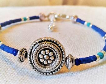 Blue ethnic bracelet - Lapis Lazuli jewelry ethnic stones