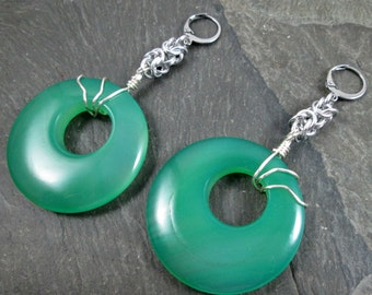 Decorative Ear Weights - Gemstone Donuts - Gemstone Earrings for Stretched Lobes - Green Onyx - Earrings for Tunnels - Green Gemstone