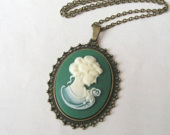 Classical Lady Green Cameo Necklace, Green and Cream Long Necklace, Victorian Cameo, Choose Bronze or Silver