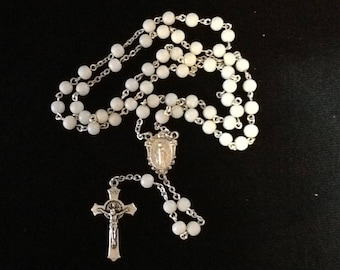 White and silver rosary