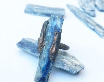 Kyanite Ring | Raw Kyanite Statement Ring | Blue Crystal Ring | Blue Kyanite Ring