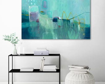Large canvas abstract art print, abstract wall art print, abstract painting print, teal, blue, living room abstract print, abstract artwork