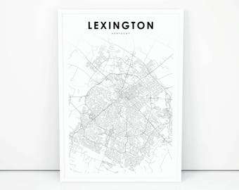 Kentucky poster etsy lexington map print kentucky ky usa map art poster city street road map print publicscrutiny Images