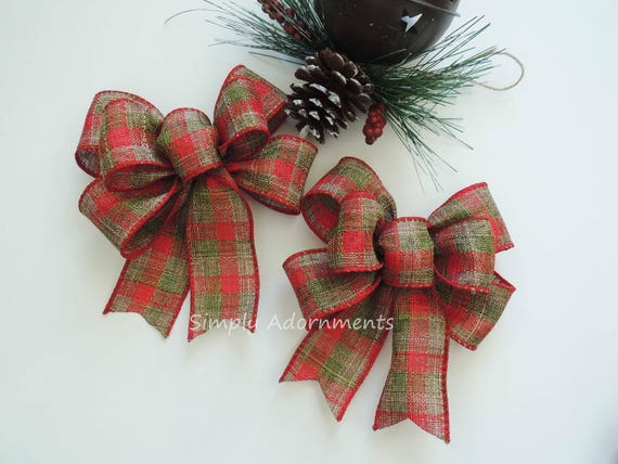 Mini Rustic Red Green Christmas Plaid Bows Red Green Tartan Country Bow Red Green Plaid Ornaments Christmas Tree Bows Christmas Gift bows