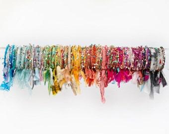 Bracelets chics empilables gypsy Bohème soie, bracelets brésiliens, bracelets, cadeaux de demoiselles d'honneur, bijoux de festival