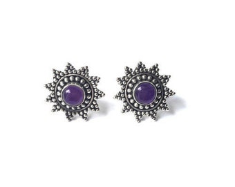 ON Sale! Sterling Silver Starlight Earrings - Amethyst