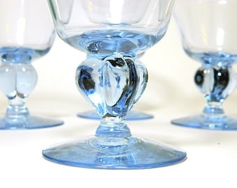 Four Seneca Ingrid Blue Glasses Wine Stems Sherbets