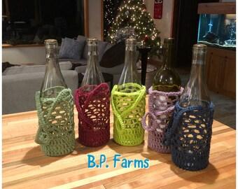 Custom Color -  **Read Description** 100% Cotton Crocheted Wine Carrier -
