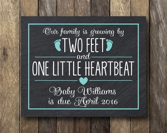 Our Family is Growing By Two Feet and One Heartbeat - Printable Pregnancy Announcement - Pregnancy Reveal Photo Prop