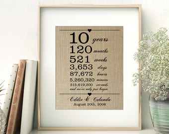 10 Years Together | Years Months Weeks Days Hours Minutes Seconds | Personalized Burlap Print | 10th Wedding Anniversary Gift for Husband