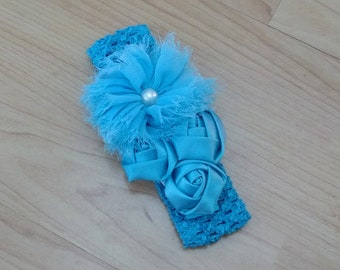 Baby Girl Headband, Baby Bow Headband, Blue Headband, Flower Headband, Baby Hair Accessory, Baby Headband, Girls Headband, Infant Headband