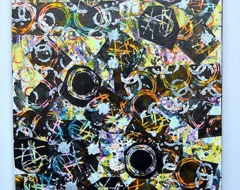 """24"""" X 36"""" Abstract Paper on Canvas Mixed Media Collage by Charles Davis"""