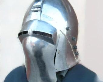 14th German Knight's Helmet, SCA Helmet, IMCF Helmet, Ritterrüstung, Knight's Armor, Buhurt Helmet, Steel Armor, Middle Ages Armor, HMB