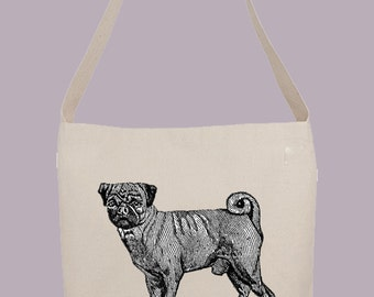 Awesome vintage Pug dog illustration - Hobo Sling Tote, 14.5x14x3, Crossbody Strap, Magnetic Closure, Inside pocket