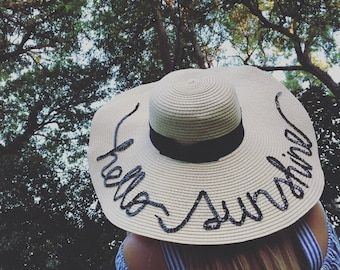 Personalized straw hat- Sun hat-Beach Hat- Boho Hat-Bachelorette Party Hat-Vacation wear-Gift-For-Women-Vacation hat-Custom Gift- Fun