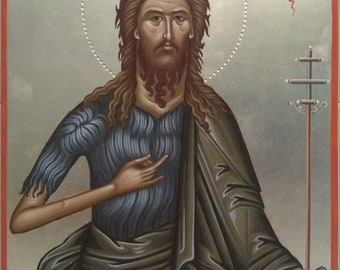 Saint John the Baptist- Hand painted Byzantine icon