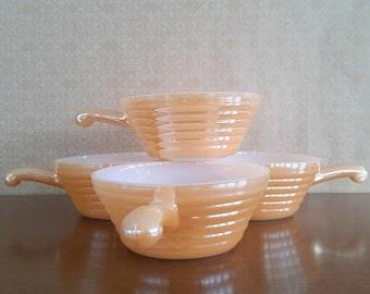 1950's Vintage Fireking Peach Lustre Bowls- Set of 4