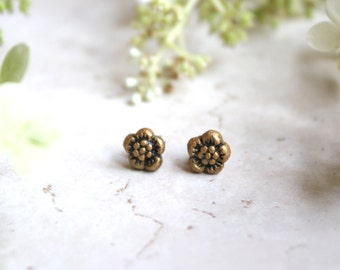 Tiny Flower Earrings - Gold Floral Studs - Cherry Blossom Posts - Little Stud Earrings - Small Antique Bronze Flowers