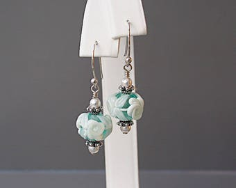 White Flower Earrings on Light Blue with Lampwork Glass Beads - Lampwork Jewelry - Victorian Style Earrings - Gifts for Gardeners