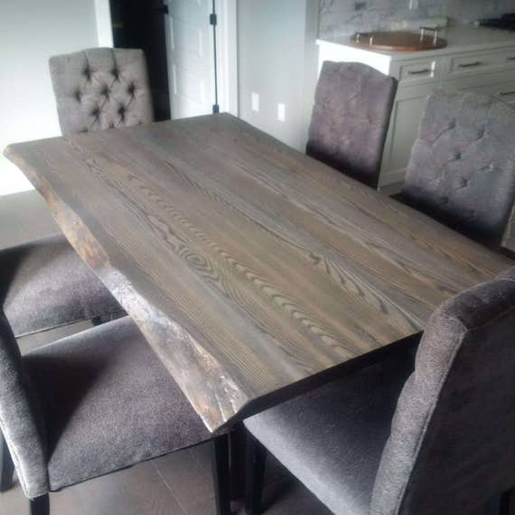 Live Edge Grey Ash Dining Table Live Edge Table Live Edge