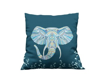 Dark Teal Elephant Throw Pillow, Boho, Accent Pillows, Home Decor