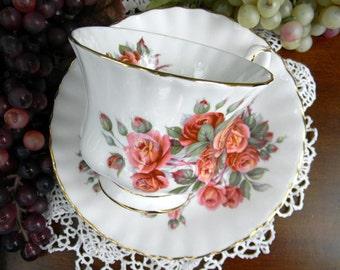 Teacup and Saucer, Centennial Rose England, Royal Albert, Montrose, Footed Tea Cup 13223