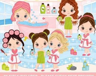 72 Little Spa Girls Clipart - Vector Spa Girl, Spa Party Clipart, Spa Clipart, Clipart, Pamper Clipart, Sticker Clipart, Spa Girl Clip Art