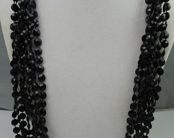 Black Faceted Plastic Bead Necklace 1950-60s