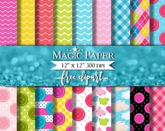 Lalaloopsy Digital Paper Clipart Clip Art, Rag Dolls digital paper pack, Lalaloopsy, Buttons, Stitched Hearts for scrapbooking