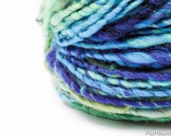 Handspun yarn / hand painted merino wool / aran to bulky weight yarn / multi color slubby single